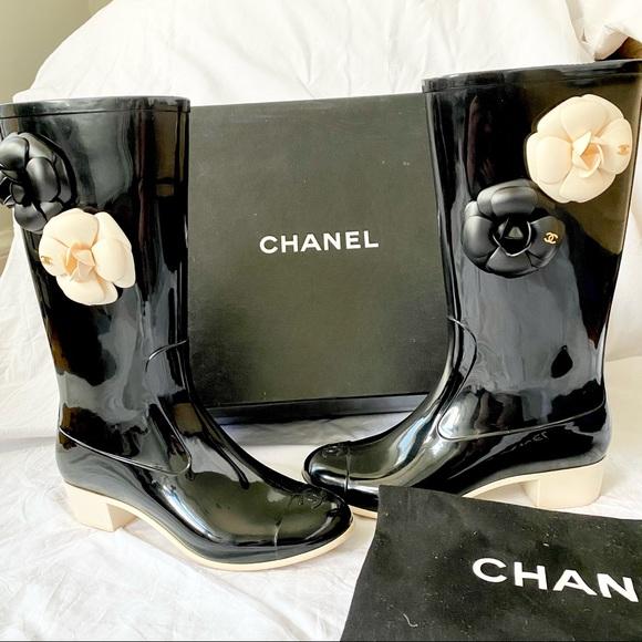 Chanel Camellia Rain Boots